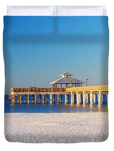 Fort Myers Beach Pier Duvet Cover