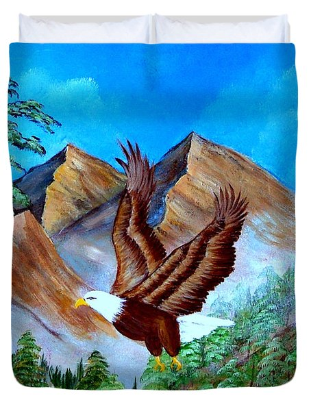 Duvet Cover featuring the painting Freedom Flight by Fram Cama