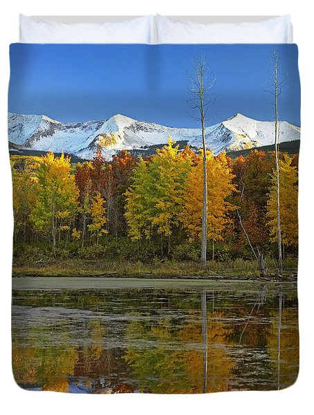 Full Moon Over East Beckwith Mountain Duvet Cover by Tim Fitzharris
