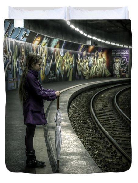 Girl In Station Duvet Cover by Joana Kruse
