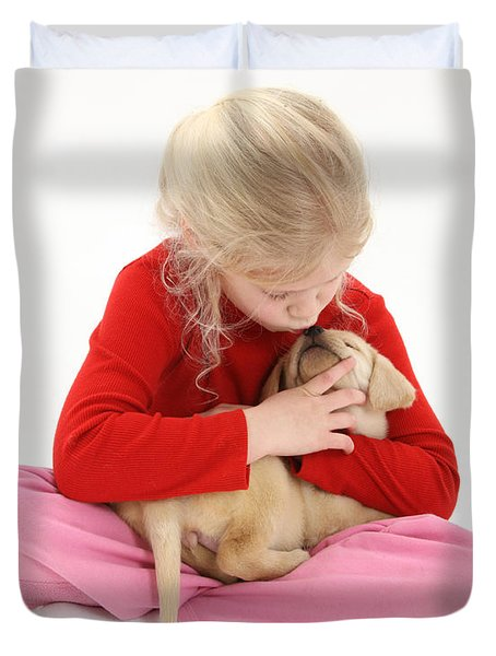 Girl With Puppy Duvet Cover by Mark Taylor