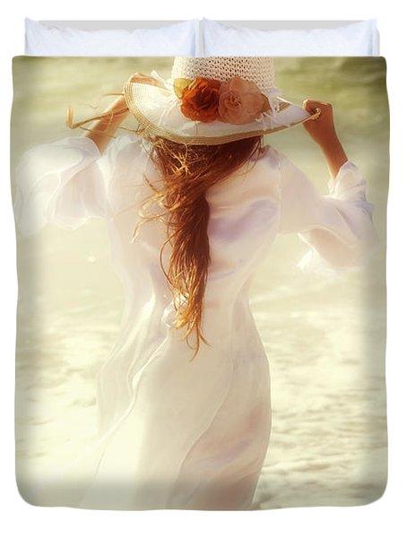 Girl With Sun Hat Duvet Cover by Joana Kruse