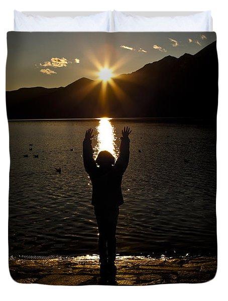 Girl With Sunset Duvet Cover by Joana Kruse