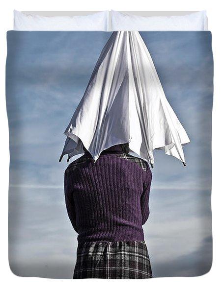 Girl With Umbrella Duvet Cover by Joana Kruse