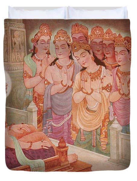Gods Entertaining Mahavira Duvet Cover by Photo Researchers