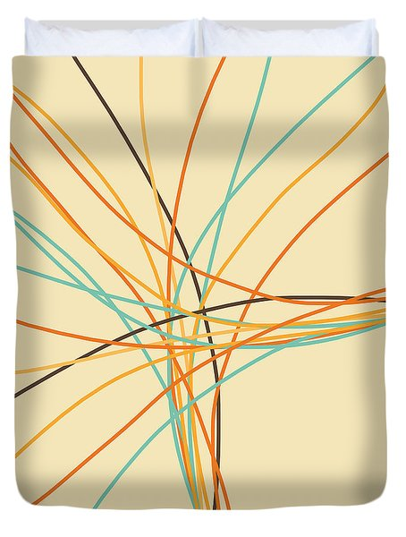 Graphic Line Pattern Duvet Cover by Setsiri Silapasuwanchai
