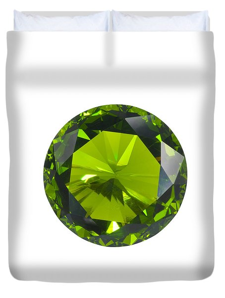 Green Gem Isolated Duvet Cover by Atiketta Sangasaeng