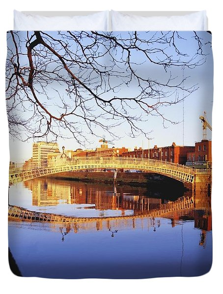 Hapenny Bridge, River Liffey, Dublin Duvet Cover by The Irish Image Collection
