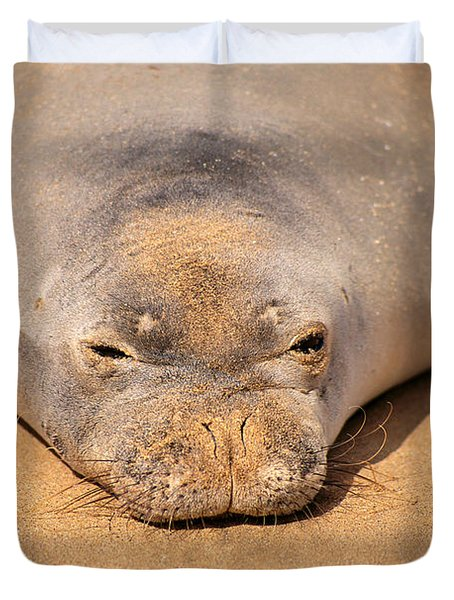 Hawaiian Monk Seal Duvet Cover by Dave Fleetham - Printscapes