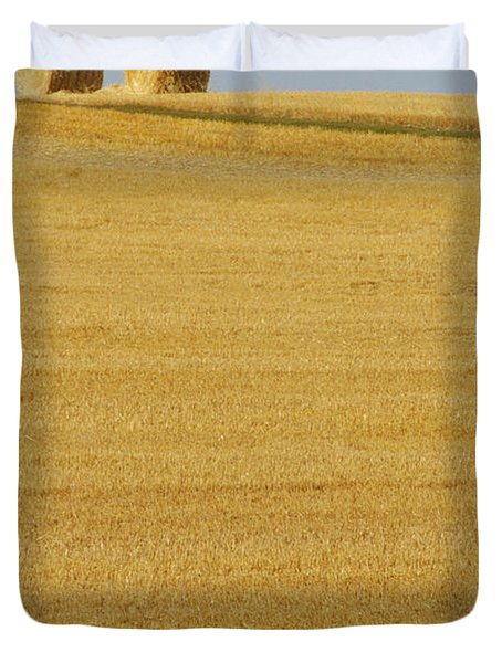 Hay Bales, Holland, Manitoba Duvet Cover by Mike Grandmailson