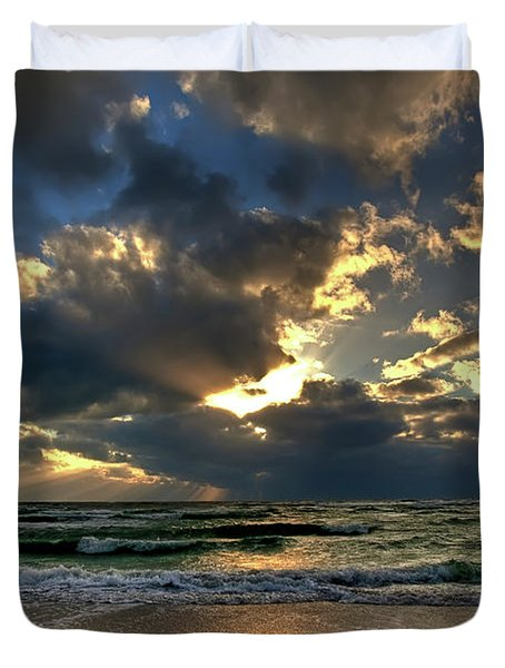 Heavenly Rays Duvet Cover by Nick  Shirghio