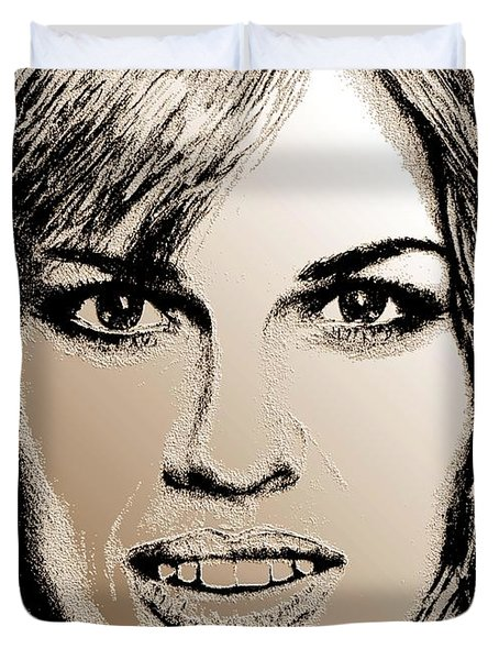 Hilary Swank In 2007 Duvet Cover by J McCombie