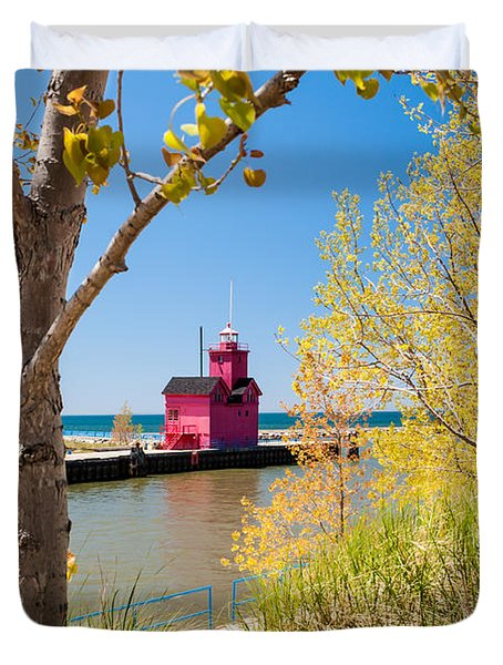 Holland Mi Lighthouse Duvet Cover by Larry Carr