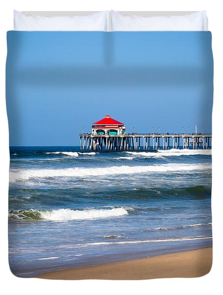 Huntington Beach Pier In Orange County California Duvet Cover by Paul Velgos