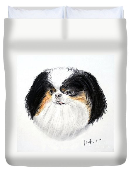 Duvet Cover featuring the drawing Japanese Chin Dog Portrait by Jim Fitzpatrick