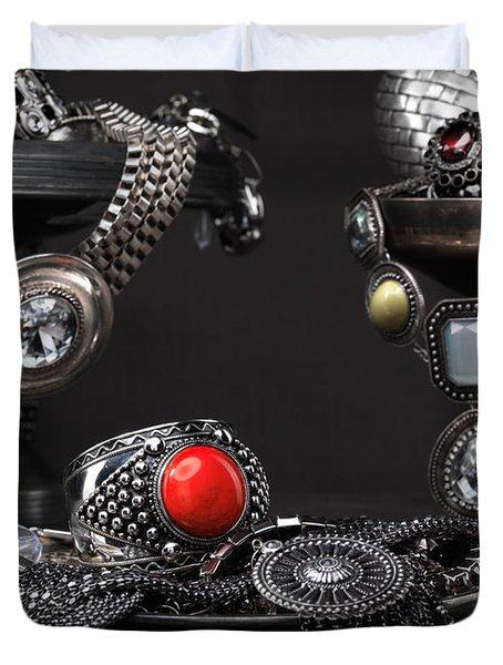 Jewellery Still Life Duvet Cover by Oleksiy Maksymenko