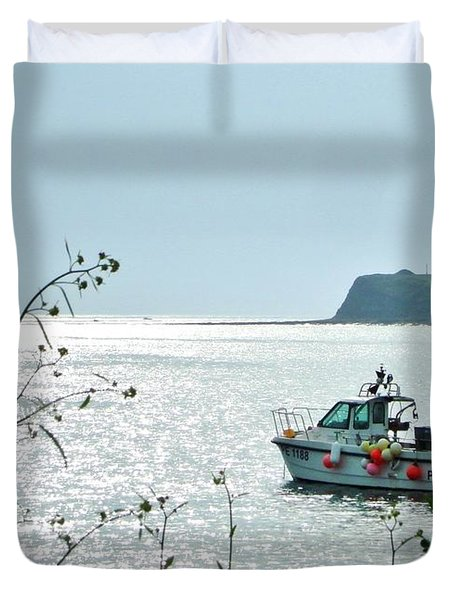 Duvet Cover featuring the photograph Kimmeridge by Katy Mei