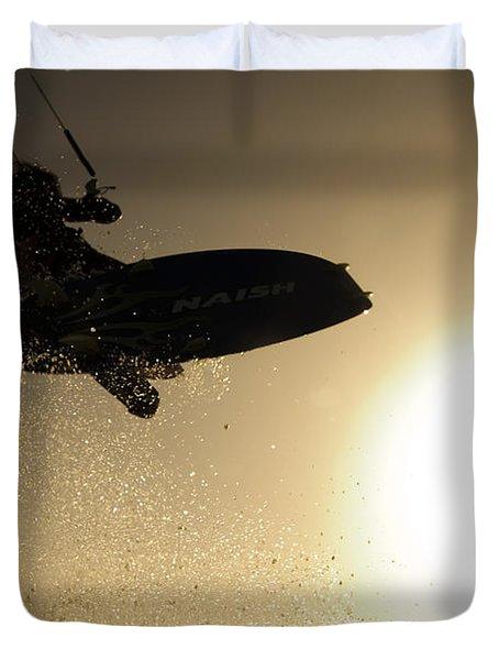 Kitesurfing At Sunset Duvet Cover by Hagai Nativ