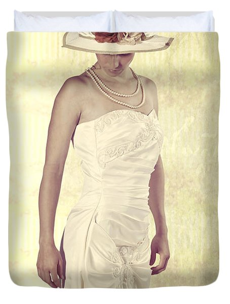 Lady In White Dress Duvet Cover by Joana Kruse