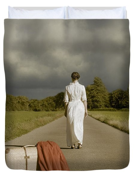 Lady On The Road Duvet Cover by Joana Kruse
