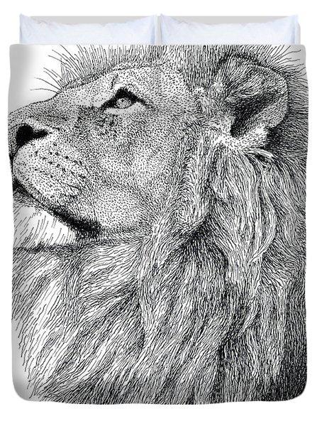 Lion Duvet Cover by Scott Woyak