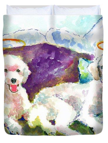 Little Angels Poodles Duvet Cover by Marsden Burnell