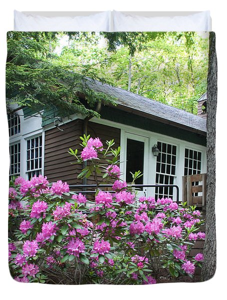 Little Brown Church In Spring Duvet Cover
