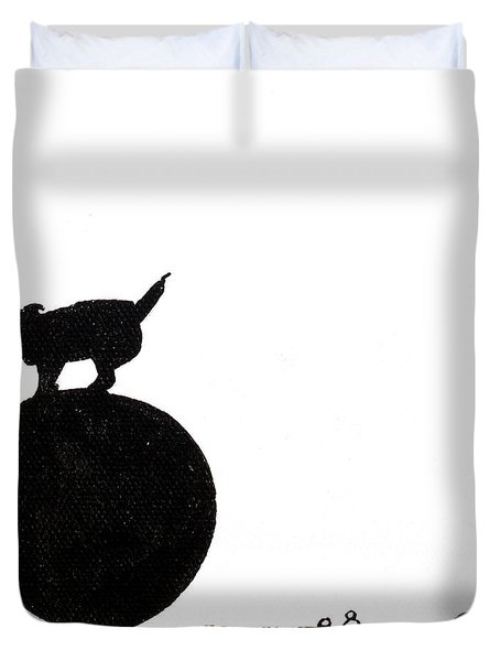 Little Dogs Doing Tricks On Little Canvas Duvet Cover by Cindy D Chinn