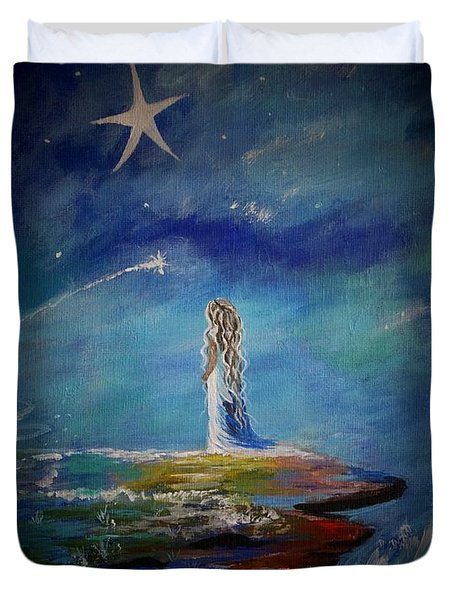 Little Wishes By The Sea Duvet Cover by Leslie Allen