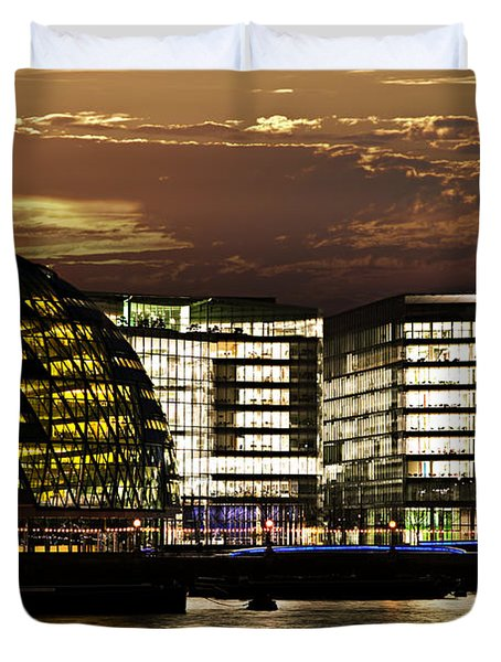 London City Hall At Night Duvet Cover by Elena Elisseeva