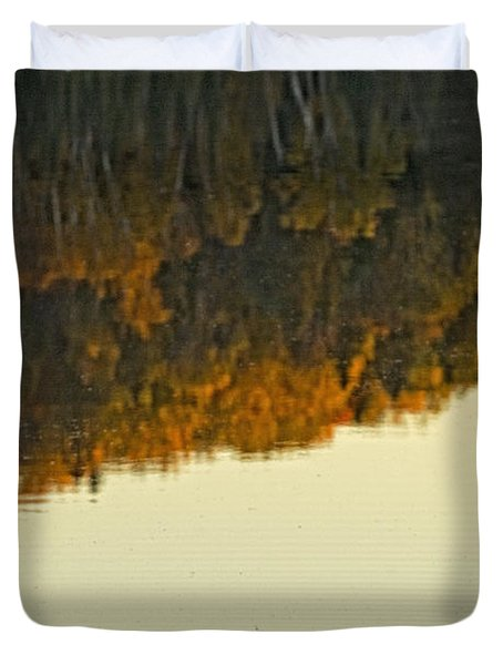 Loon In Opeongo Lake With Reflection Duvet Cover