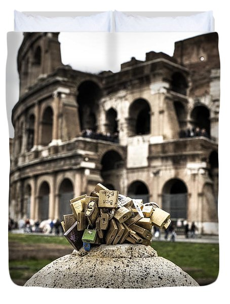 love locks in Rome Duvet Cover by Joana Kruse