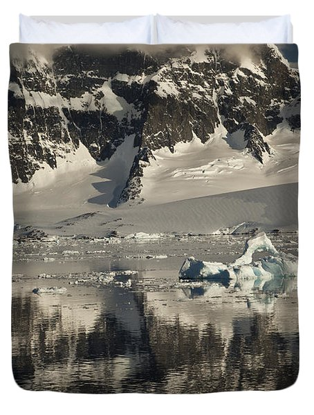 Luigi Peak Wiencke Island Antarctic Duvet Cover by Colin Monteath