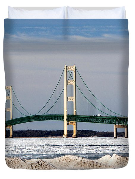 Mackinac Bridge In Winter Duvet Cover