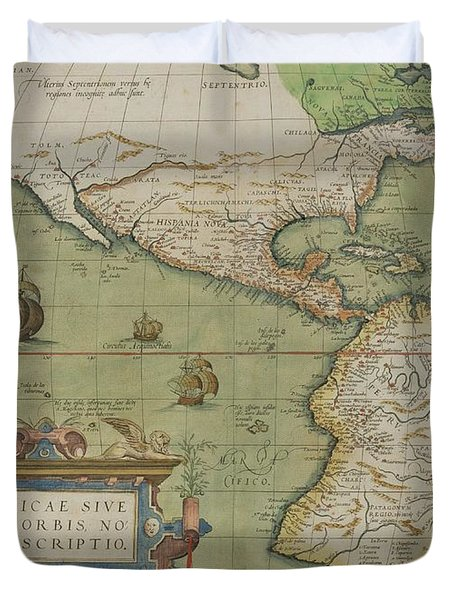 Map Of North And South America Duvet Cover by Abraham Ortelius
