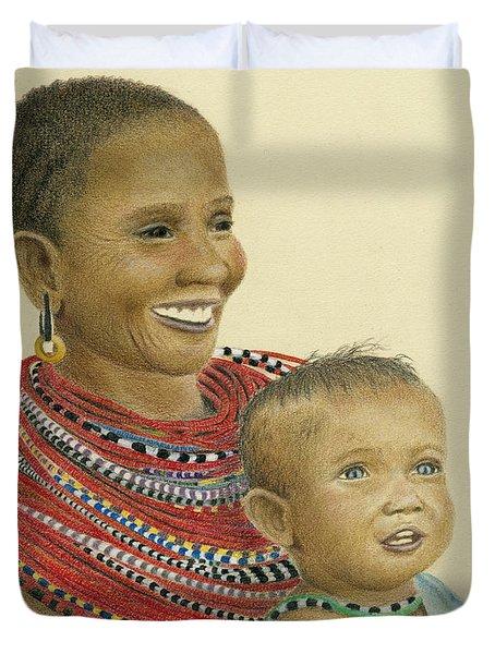 Masai Mom And Babe Duvet Cover