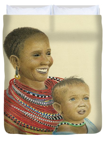 Masai Mom And Babe Duvet Cover