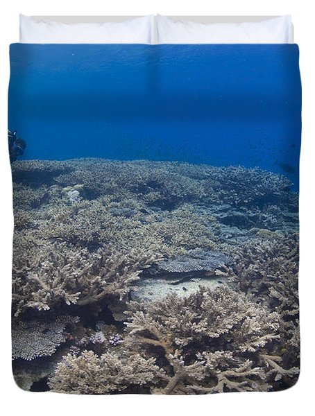 Masses Of Staghorn Coral, Papua New Duvet Cover by Steve Jones