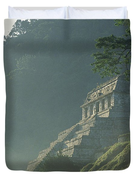 Misty View Of The Temple Duvet Cover by Kenneth Garrett