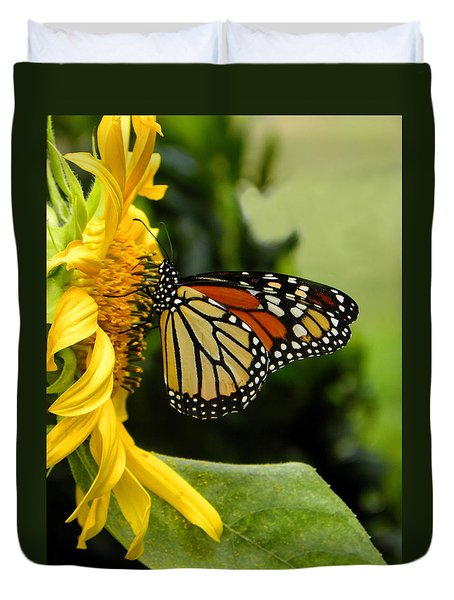 Monarch And The Sunflower Duvet Cover