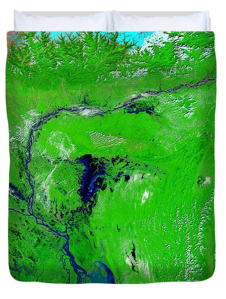 Monsoon Floods Duvet Cover by NASA / Science Source