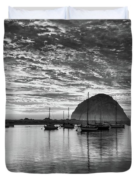 Morro Bay On Fire Duvet Cover