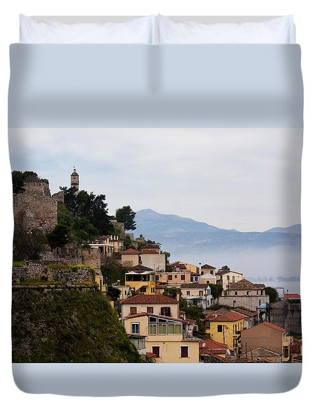 Duvet Cover featuring the photograph Nafplio by Shirley Mitchell