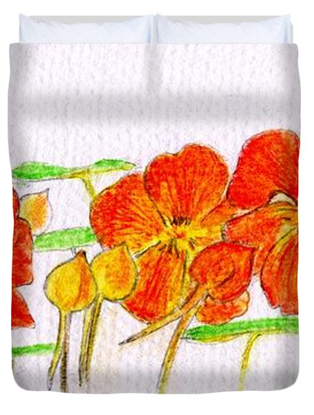 Duvet Cover featuring the drawing Nasturtiums by Barbara Moignard