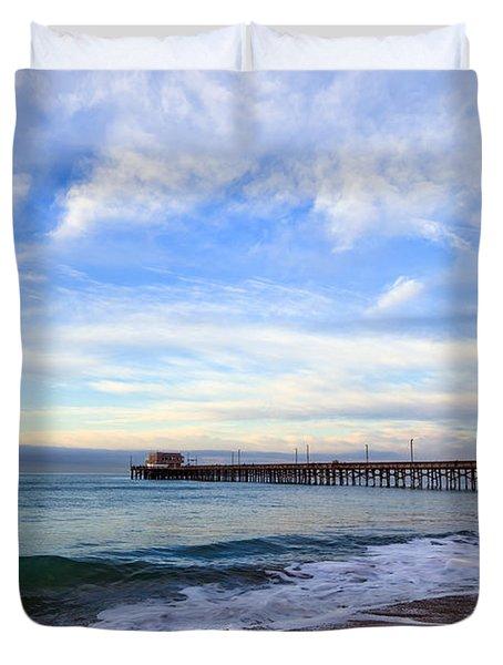 Newport Beach Pier Duvet Cover by Paul Velgos