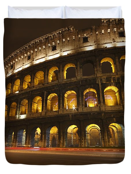 Night Lights Of The Colosseum Rome Duvet Cover by Trish Punch
