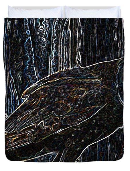 Night Owl - Digital Art Duvet Cover by Carol Groenen