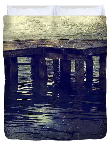 Old Wooden Pier With Stairs Into The Lake Duvet Cover by Joana Kruse