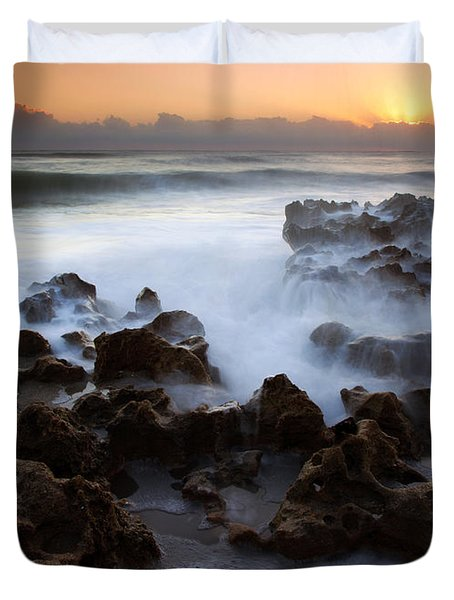 Overwhelmed By The Sea Duvet Cover by Mike  Dawson