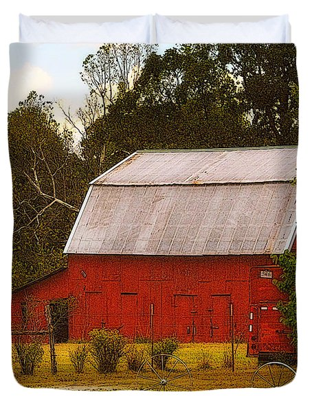 Duvet Cover featuring the photograph Ozark Red Barn by Lydia Holly